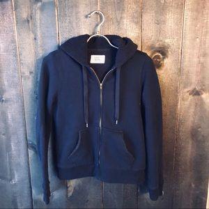 J. Crew Vintage Fleece Zip Up Hoodie Black